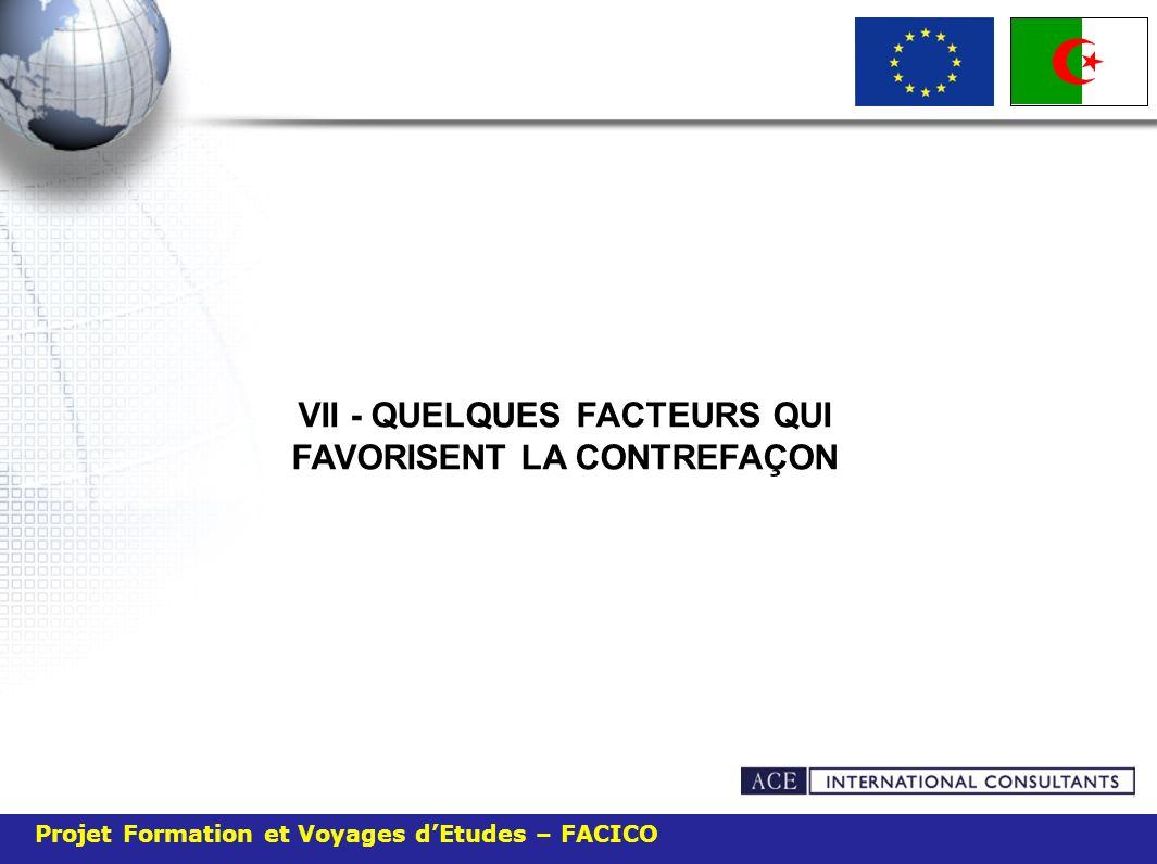 Projet Formation et Voyages dEtudes – FACICO VII - QUELQUES FACTEURS QUI FAVORISENT LA CONTREFAÇON