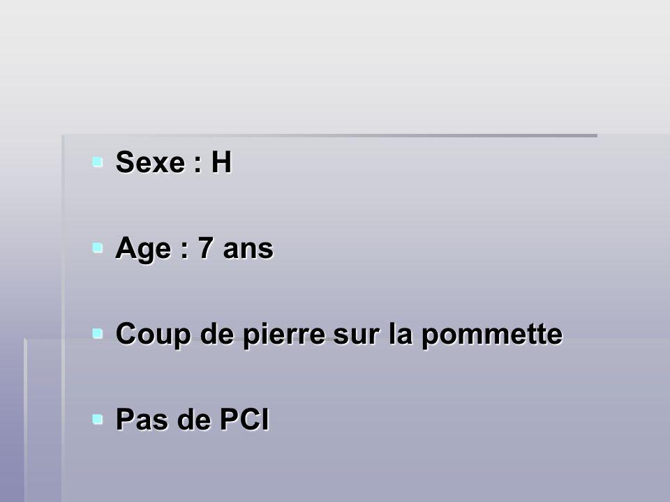 Sexe : H Sexe : H Age : 7 ans Age : 7 ans Coup de pierre sur la pommette Coup de pierre sur la pommette Pas de PCI Pas de PCI