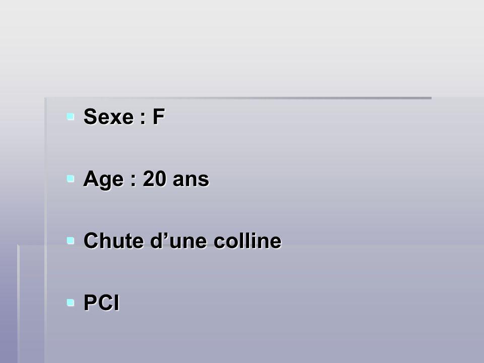 Sexe : F Sexe : F Age : 20 ans Age : 20 ans Chute dune colline Chute dune colline PCI PCI