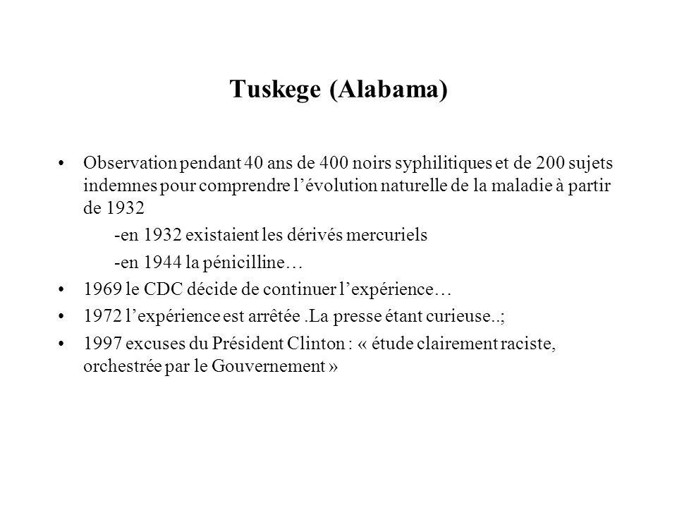 Tuskege (Alabama) Observation pendant 40 ans de 400 noirs syphilitiques et de 200 sujets indemnes pour comprendre lévolution naturelle de la maladie à