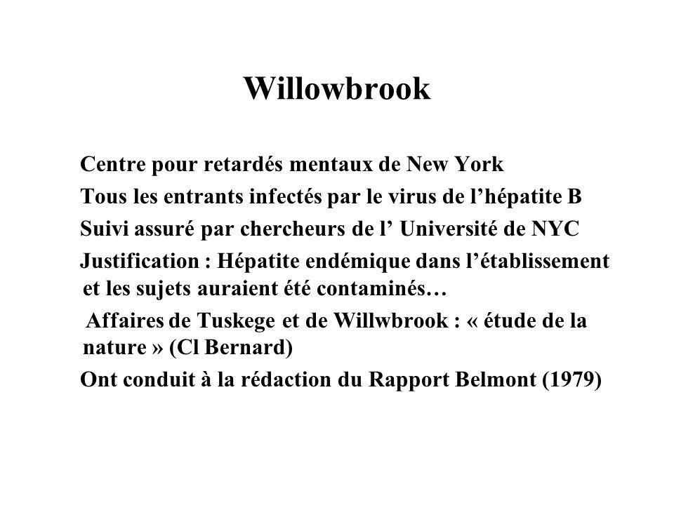 Willowbrook Centre pour retardés mentaux de New York Tous les entrants infectés par le virus de lhépatite B Suivi assuré par chercheurs de l Universit