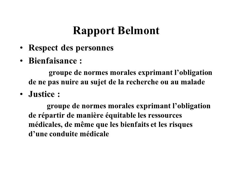 Rapport Belmont Respect des personnes Bienfaisance : groupe de normes morales exprimant lobligation de ne pas nuire au sujet de la recherche ou au mal