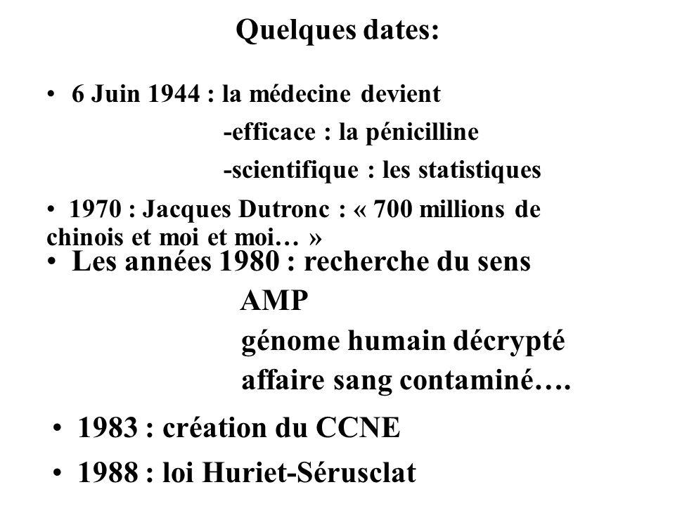 Quelques dates: 6 Juin 1944 : la médecine devient -efficace : la pénicilline -scientifique : les statistiques 1970 : Jacques Dutronc : « 700 millions