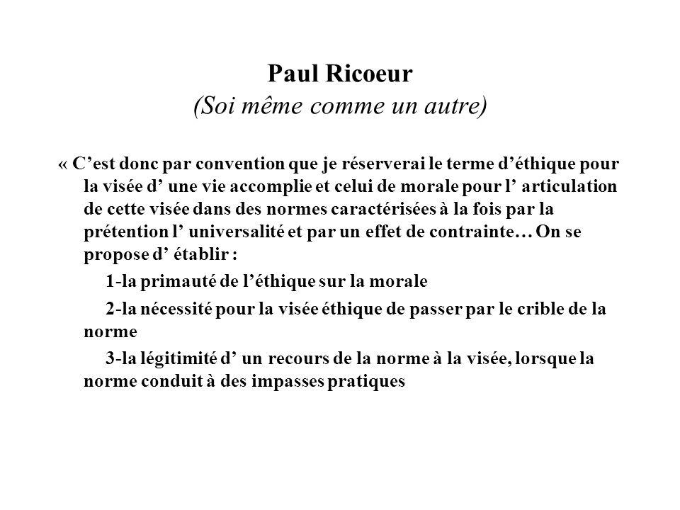 Paul Ricoeur (Soi même comme un autre) « Cest donc par convention que je réserverai le terme déthique pour la visée d une vie accomplie et celui de mo