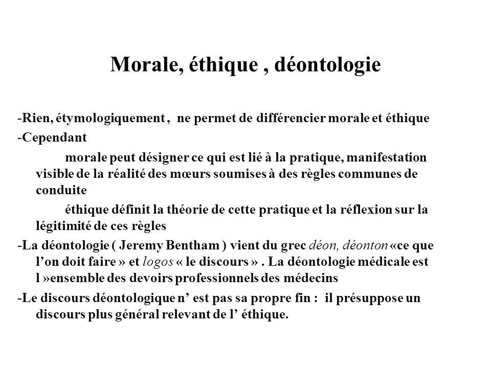 Morale, éthique, déontologie -Rien, étymologiquement, ne permet de différencier morale et éthique -Cependant morale peut désigner ce qui est lié à la