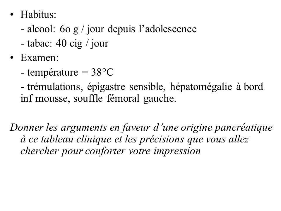 Habitus: - alcool: 6o g / jour depuis ladolescence - tabac: 40 cig / jour Examen: - température = 38°C - trémulations, épigastre sensible, hépatomégal
