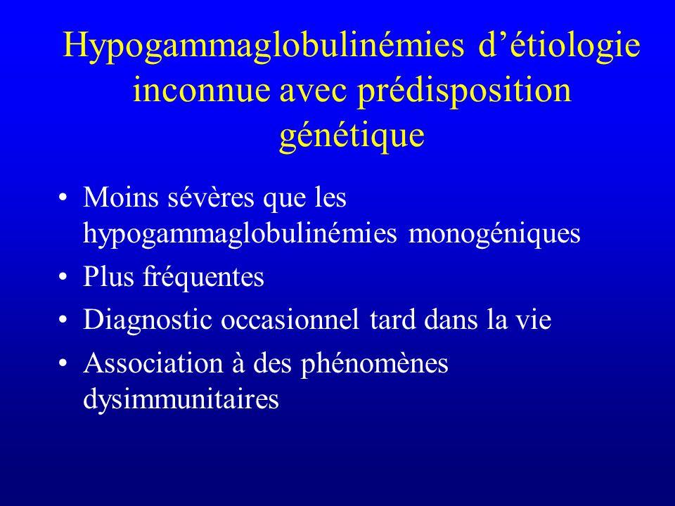 Hypogammaglobulinémies détiologie inconnue avec prédisposition génétique Moins sévères que les hypogammaglobulinémies monogéniques Plus fréquentes Dia