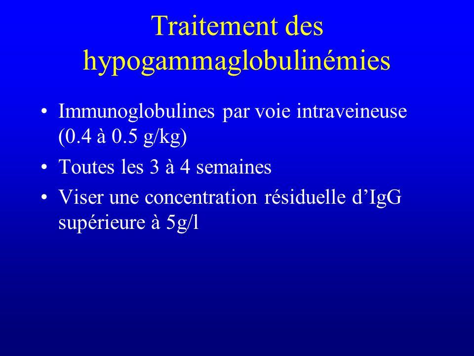 Traitement des hypogammaglobulinémies Immunoglobulines par voie intraveineuse (0.4 à 0.5 g/kg) Toutes les 3 à 4 semaines Viser une concentration résid