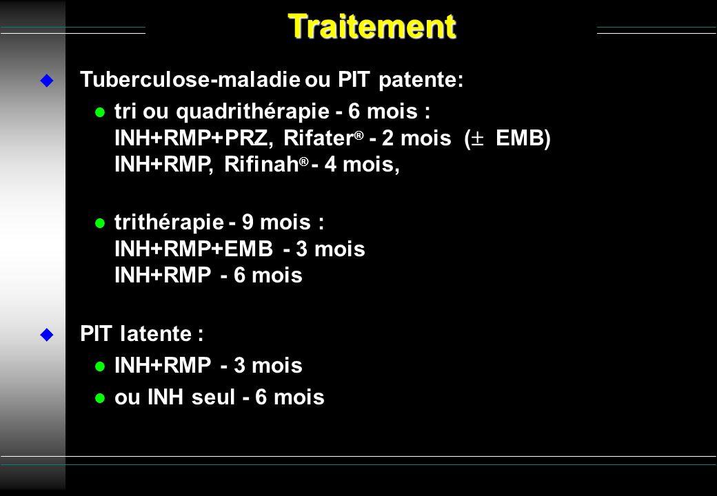 Tuberculose-maladie ou PIT patente: l tri ou quadrithérapie - 6 mois : INH+RMP+PRZ, Rifater ® - 2 mois ( EMB) INH+RMP, Rifinah ® - 4 mois, l trithérap