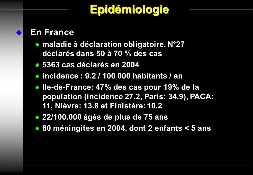 En France l maladie à déclaration obligatoire, N°27 déclarés dans 50 à 70 % des cas l 5363 cas déclarés en 2004 l incidence : 9.2 / 100 000 habitants