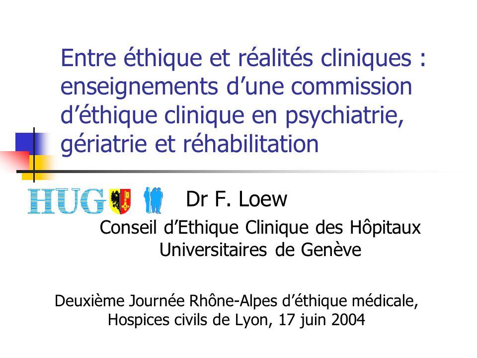 Entre éthique et réalités cliniques : enseignements dune commission déthique clinique en psychiatrie, gériatrie et réhabilitation Dr F.