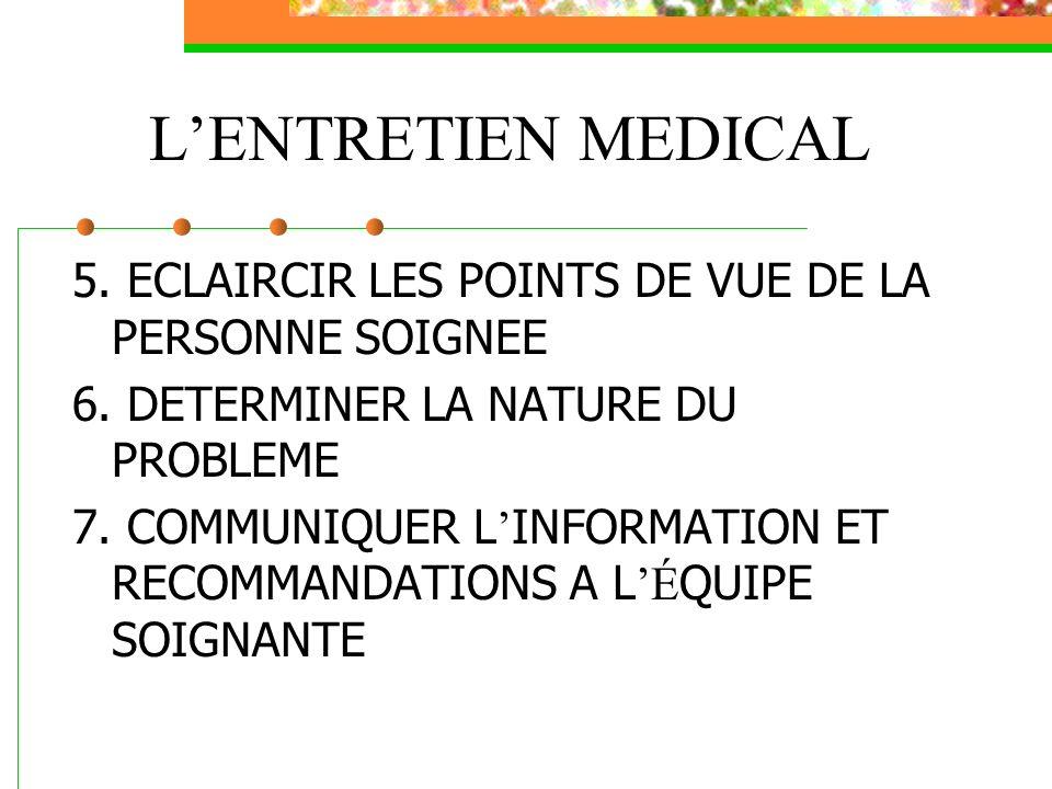 LENTRETIEN MEDICAL 5. ECLAIRCIR LES POINTS DE VUE DE LA PERSONNE SOIGNEE 6. DETERMINER LA NATURE DU PROBLEME 7. COMMUNIQUER L INFORMATION ET RECOMMAND