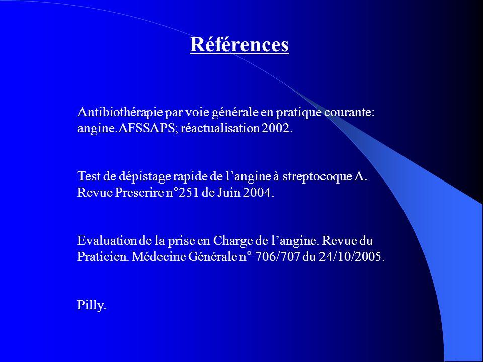 Références Antibiothérapie par voie générale en pratique courante: angine.AFSSAPS; réactualisation 2002. Test de dépistage rapide de langine à strepto