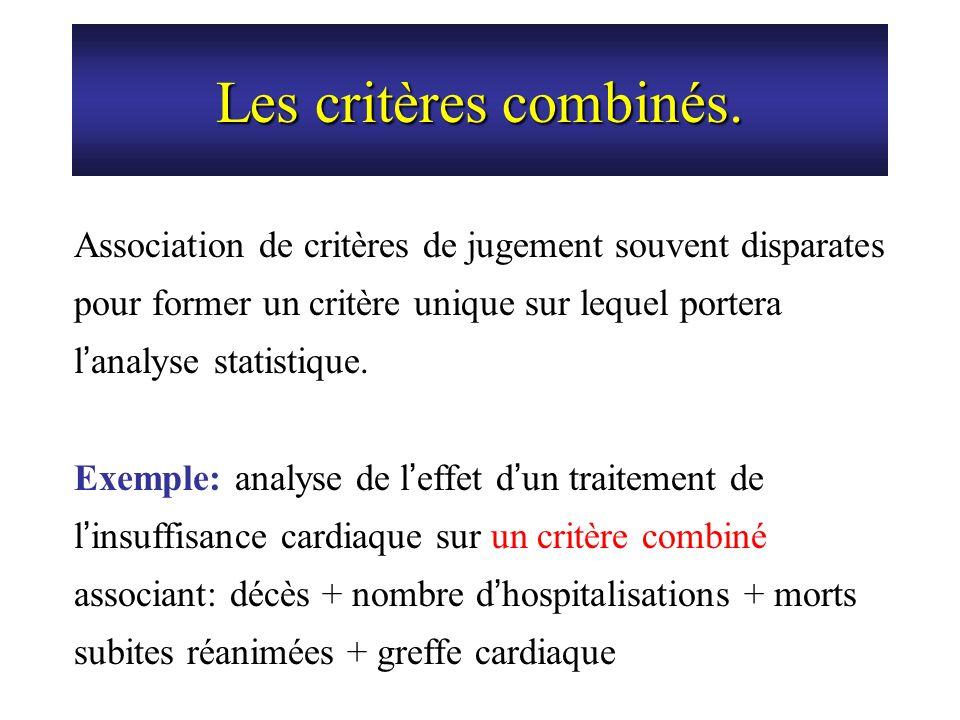 Les critères combinés. Association de critères de jugement souvent disparates pour former un critère unique sur lequel portera l analyse statistique.