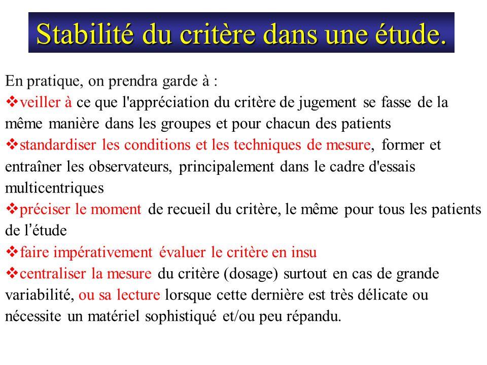 Stabilité du critère dans une étude. En pratique, on prendra garde à : veiller à ce que l'appréciation du critère de jugement se fasse de la même mani