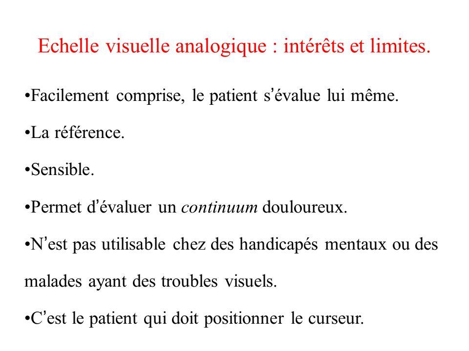 Echelle visuelle analogique : intérêts et limites. Facilement comprise, le patient s évalue lui même. La référence. Sensible. Permet d évaluer un cont