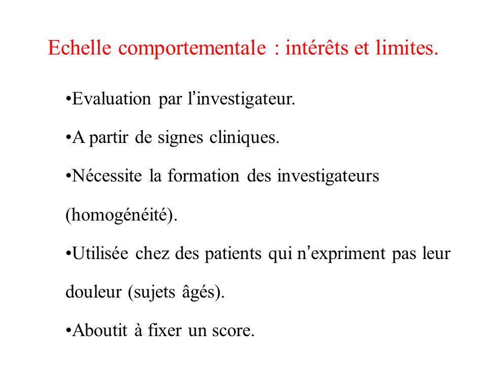 Echelle comportementale : intérêts et limites. Evaluation par l investigateur. A partir de signes cliniques. Nécessite la formation des investigateurs