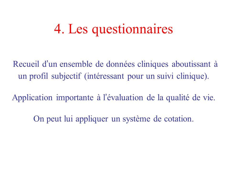 4. Les questionnaires Recueil d un ensemble de données cliniques aboutissant à un profil subjectif (intéressant pour un suivi clinique). Application i
