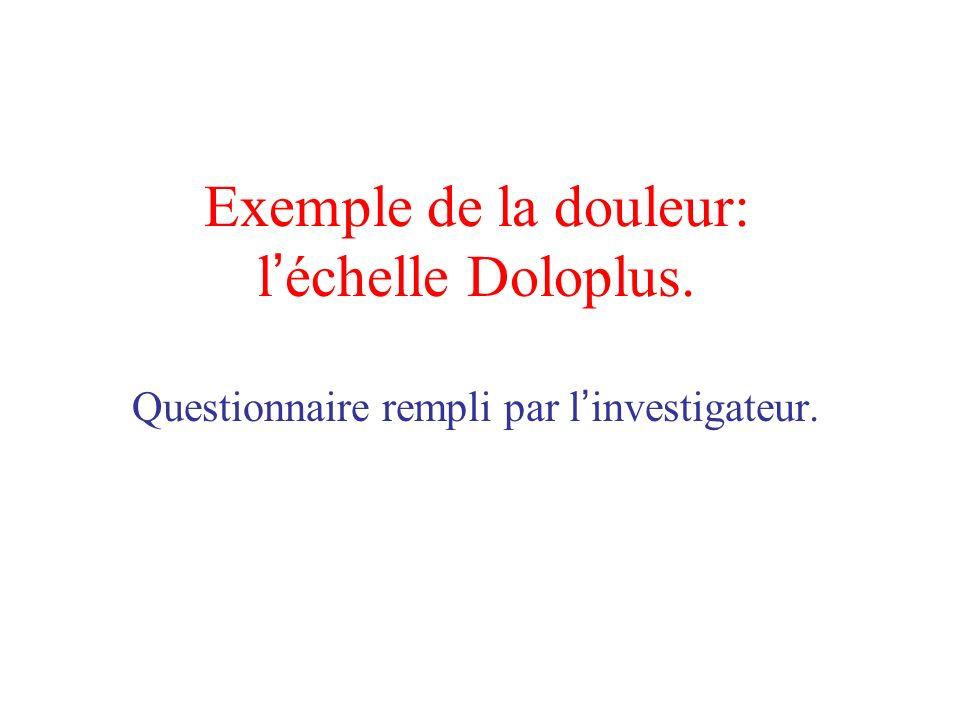 Exemple de la douleur: l échelle Doloplus. Questionnaire rempli par l investigateur.
