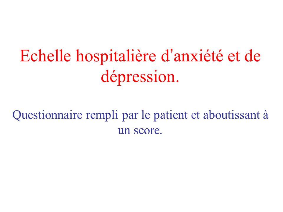Echelle hospitalière d anxiété et de dépression. Questionnaire rempli par le patient et aboutissant à un score.