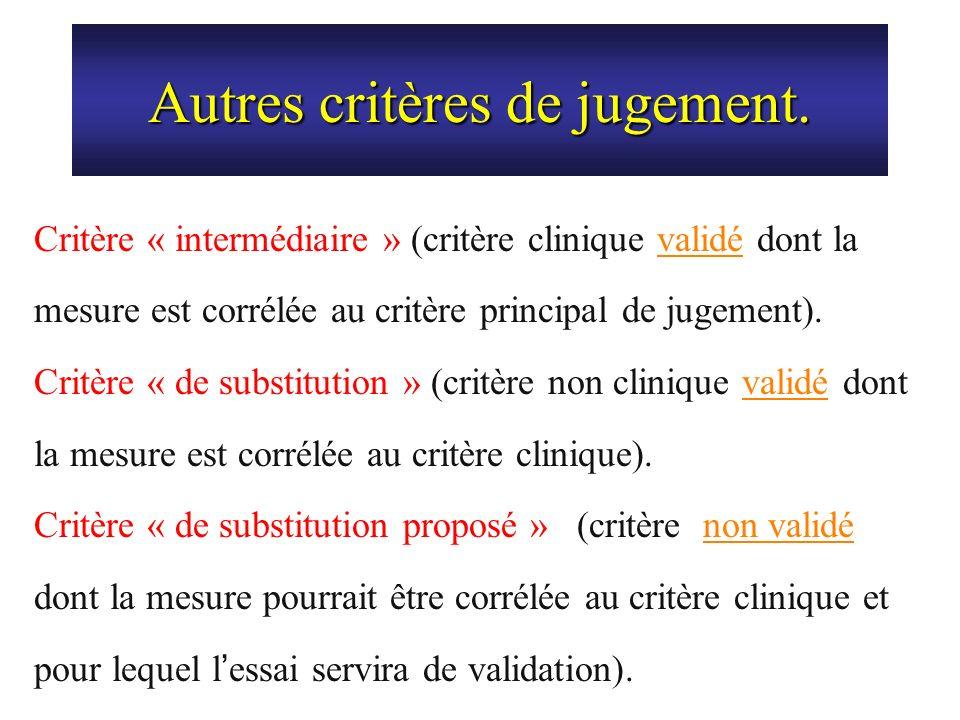 Autres critères de jugement. Critère « intermédiaire » (critère clinique validé dont la mesure est corrélée au critère principal de jugement). Critère