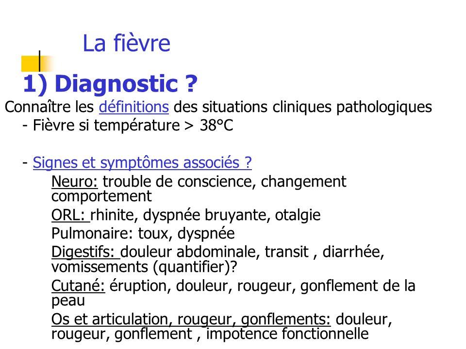 La fièvre 1) Diagnostic ? Connaître les définitions des situations cliniques pathologiques - Fièvre si température > 38°C - Signes et symptômes associ