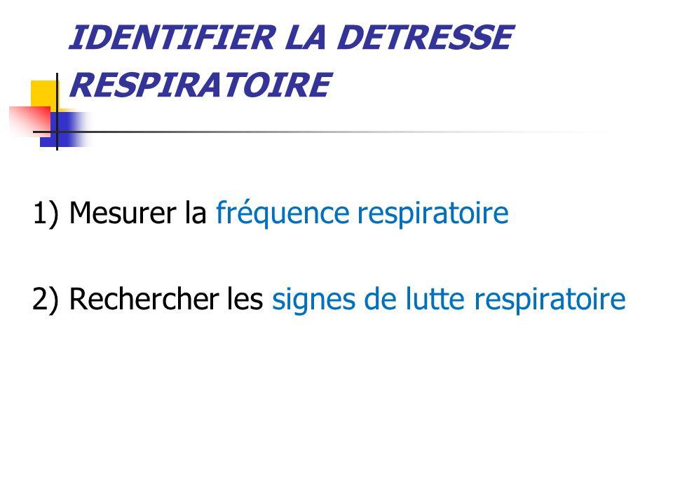 IDENTIFIER LA DETRESSE RESPIRATOIRE 1) Mesurer la fréquence respiratoire 2) Rechercher les signes de lutte respiratoire