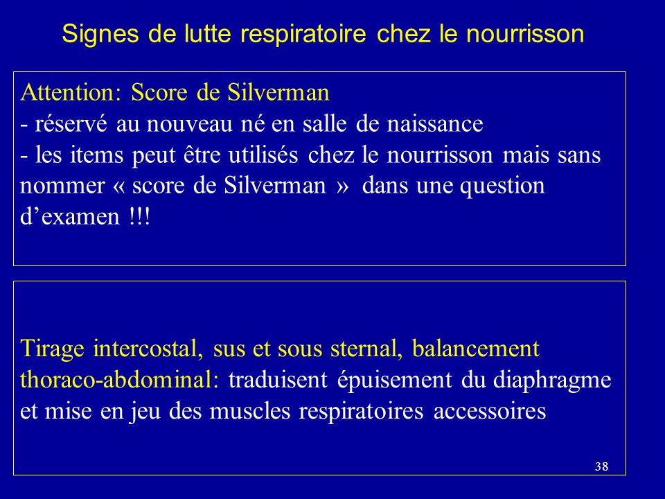 38 Attention: Score de Silverman - réservé au nouveau né en salle de naissance - les items peut être utilisés chez le nourrisson mais sans nommer « sc