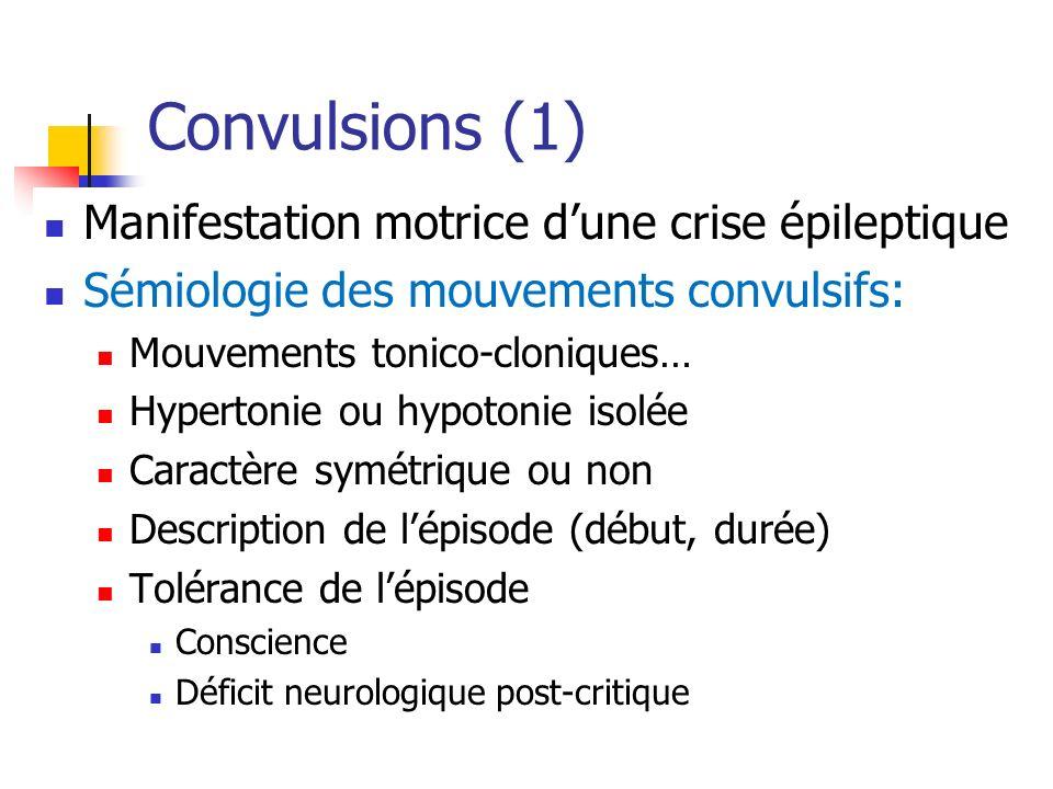 Convulsions (1) Manifestation motrice dune crise épileptique Sémiologie des mouvements convulsifs: Mouvements tonico-cloniques… Hypertonie ou hypotoni