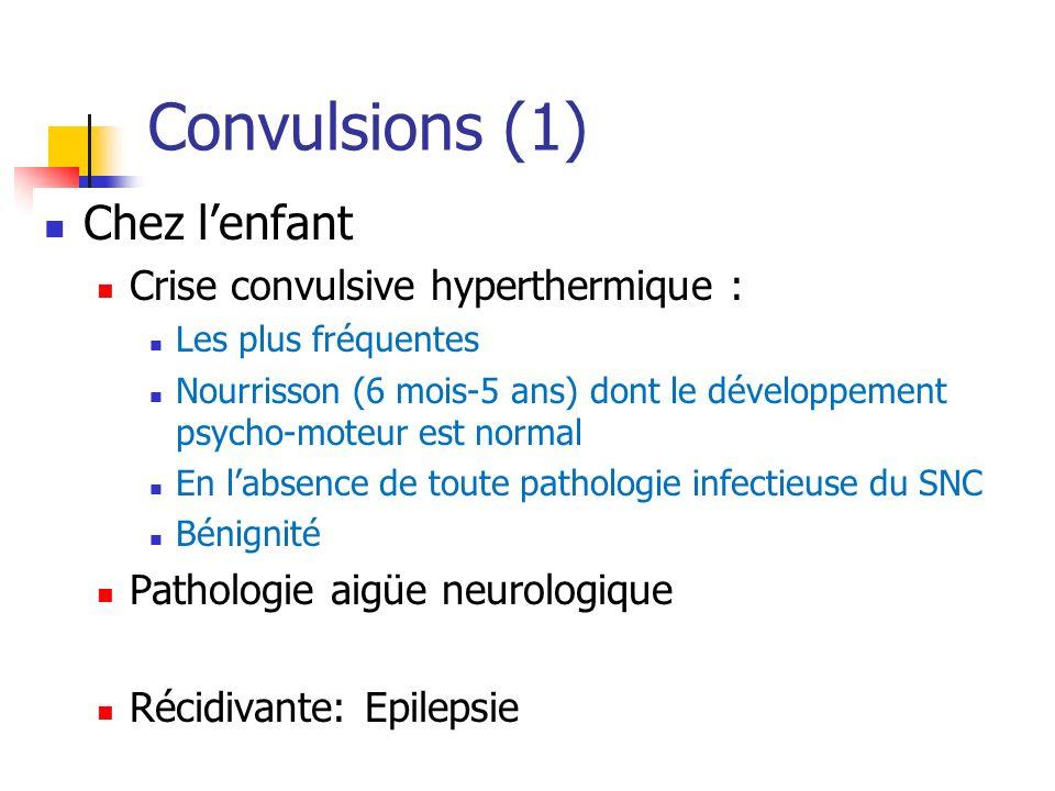 Convulsions (1) Chez lenfant Crise convulsive hyperthermique : Les plus fréquentes Nourrisson (6 mois-5 ans) dont le développement psycho-moteur est n