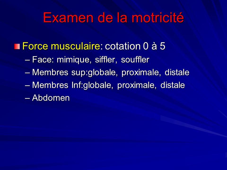 Examen de la motricité Force musculaire: cotation 0 à 5 –Face: mimique, siffler, souffler –Membres sup:globale, proximale, distale –Membres Inf:global