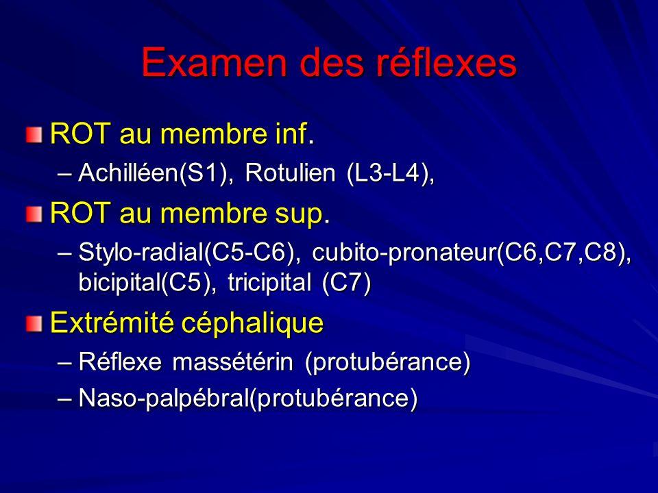Examen des réflexes ROT au membre inf. –Achilléen(S1), Rotulien (L3-L4), ROT au membre sup. –Stylo-radial(C5-C6), cubito-pronateur(C6,C7,C8), bicipita