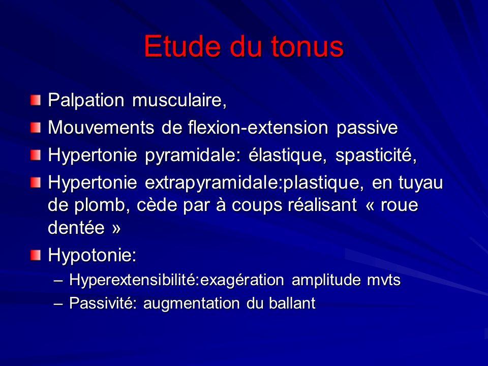 Etude du tonus Palpation musculaire, Mouvements de flexion-extension passive Hypertonie pyramidale: élastique, spasticité, Hypertonie extrapyramidale: