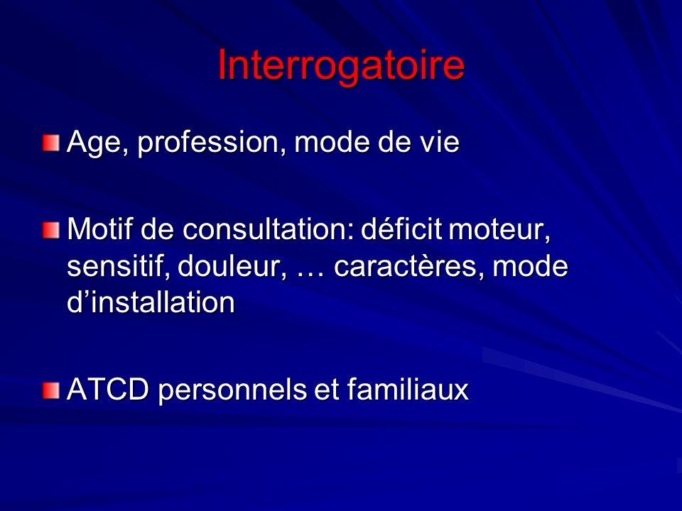 Interrogatoire Age, profession, mode de vie Motif de consultation: déficit moteur, sensitif, douleur, … caractères, mode dinstallation ATCD personnels