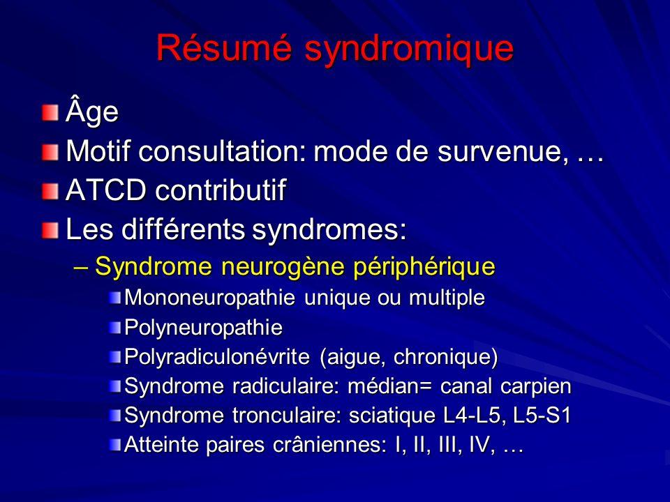 Résumé syndromique Âge Motif consultation: mode de survenue, … ATCD contributif Les différents syndromes: –Syndrome neurogène périphérique Mononeuropa