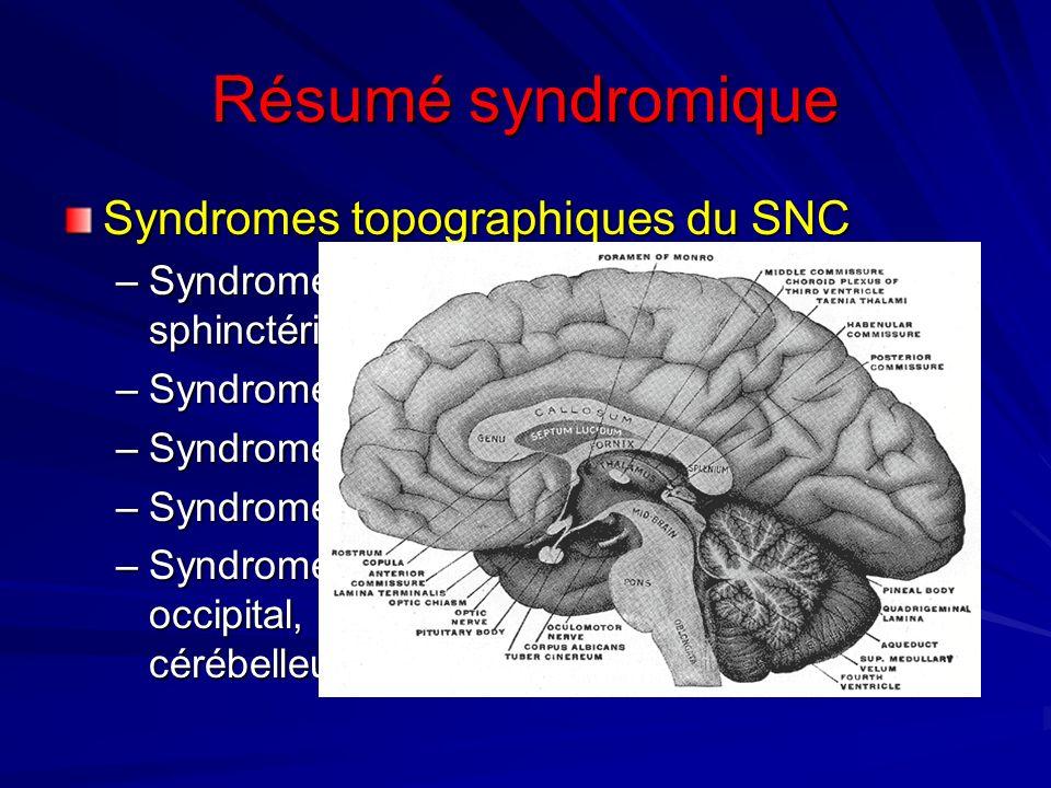 Résumé syndromique Syndromes topographiques du SNC –Syndrome médullaire: pyramidal, sensitif, sphinctériens, trophiques –Syndromes bulbaires: Wallenbe