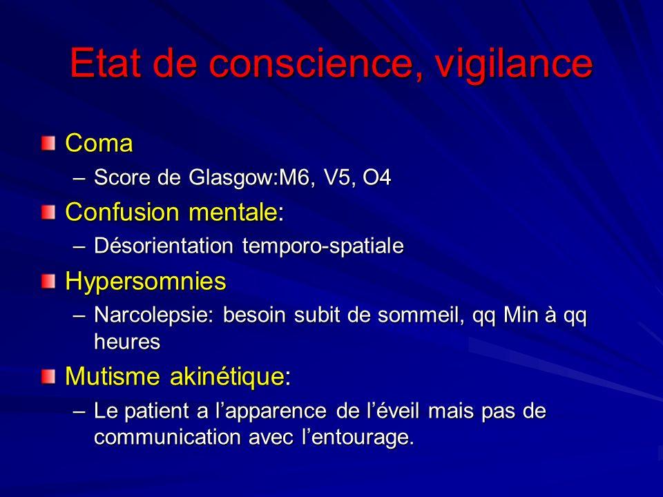 Etat de conscience, vigilance Coma –Score de Glasgow:M6, V5, O4 Confusion mentale: –Désorientation temporo-spatiale Hypersomnies –Narcolepsie: besoin