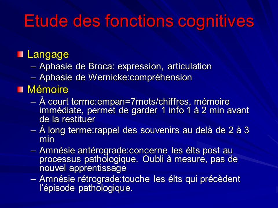 Etude des fonctions cognitives Langage –Aphasie de Broca: expression, articulation –Aphasie de Wernicke:compréhension Mémoire –À court terme:empan=7mo