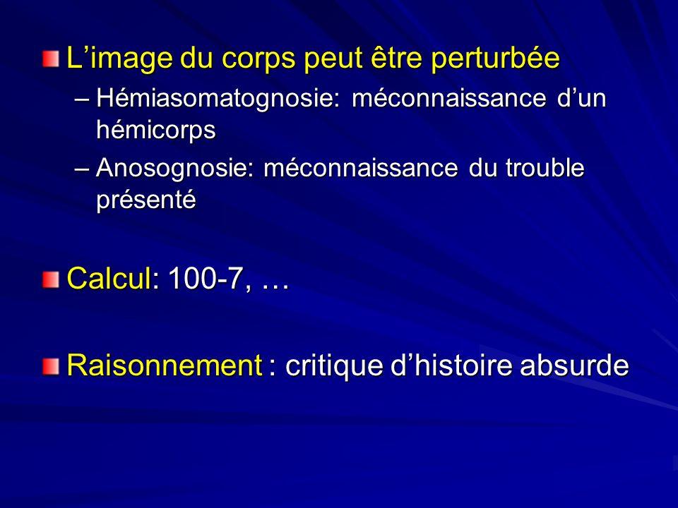 Limage du corps peut être perturbée –Hémiasomatognosie: méconnaissance dun hémicorps –Anosognosie: méconnaissance du trouble présenté Calcul: 100-7, …