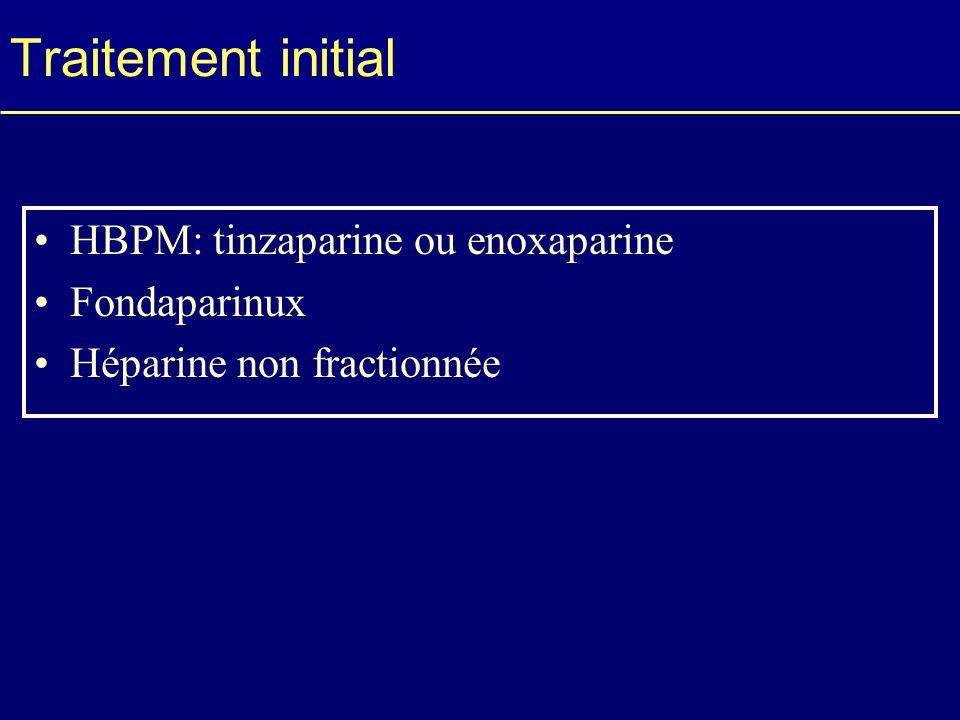 Traitement initial HBPM: tinzaparine ou enoxaparine Fondaparinux Héparine non fractionnée