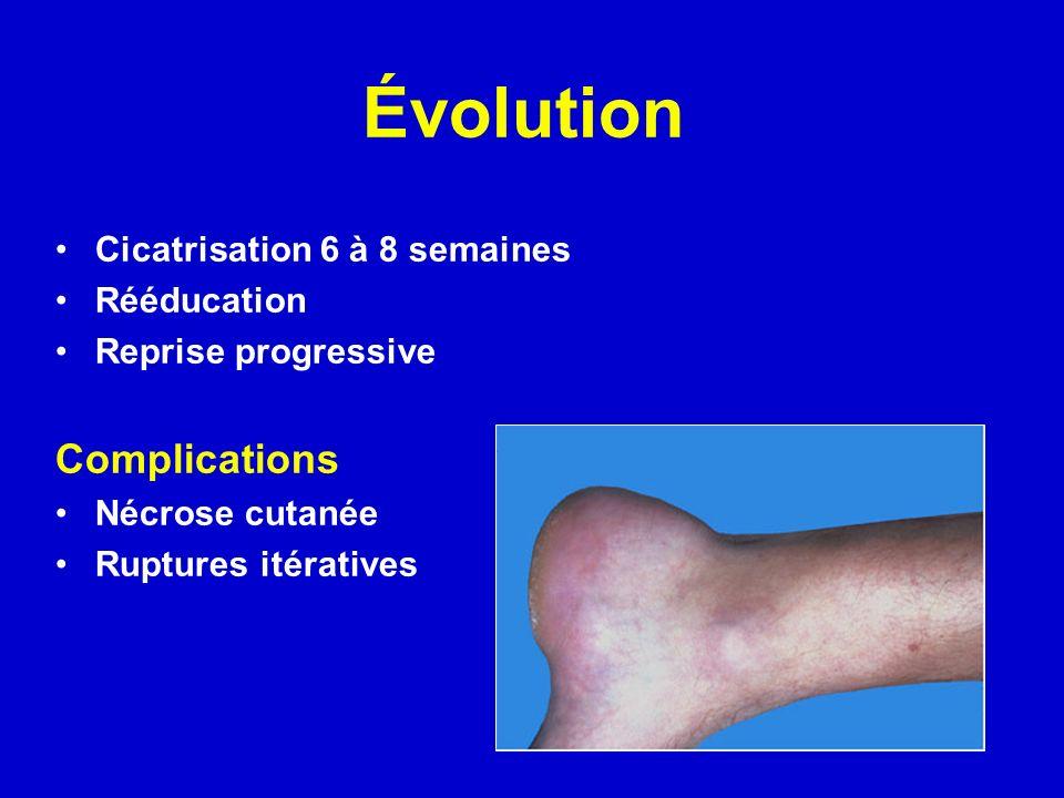 Évolution Cicatrisation 6 à 8 semaines Rééducation Reprise progressive Complications Nécrose cutanée Ruptures itératives