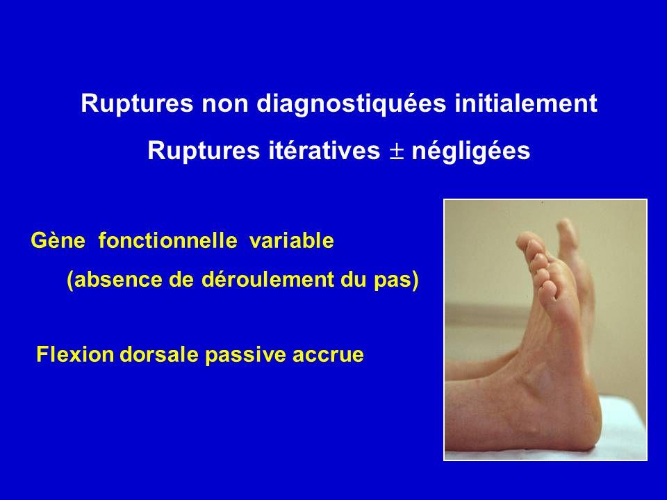Ruptures non diagnostiquées initialement Ruptures itératives négligées Gène fonctionnelle variable (absence de déroulement du pas) Flexion dorsale pas