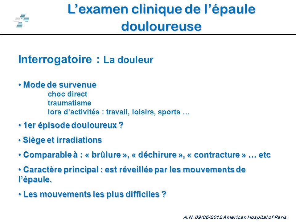 Lexamen clinique de lépaule douloureuse A.N.