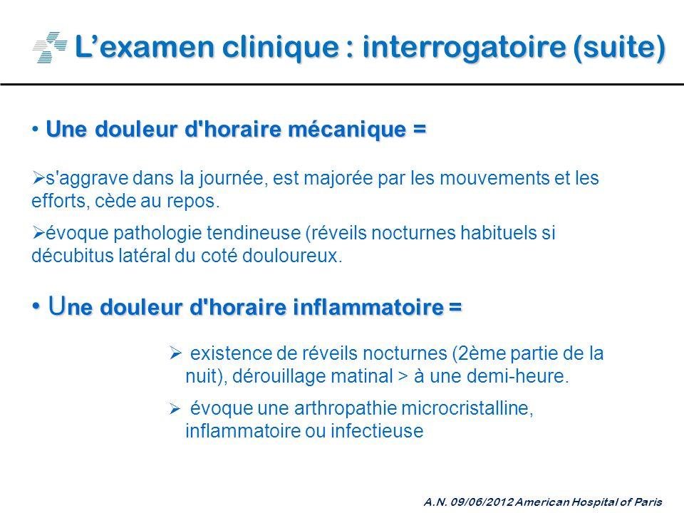 Lexamen clinique : interrogatoire (suite) A.N.