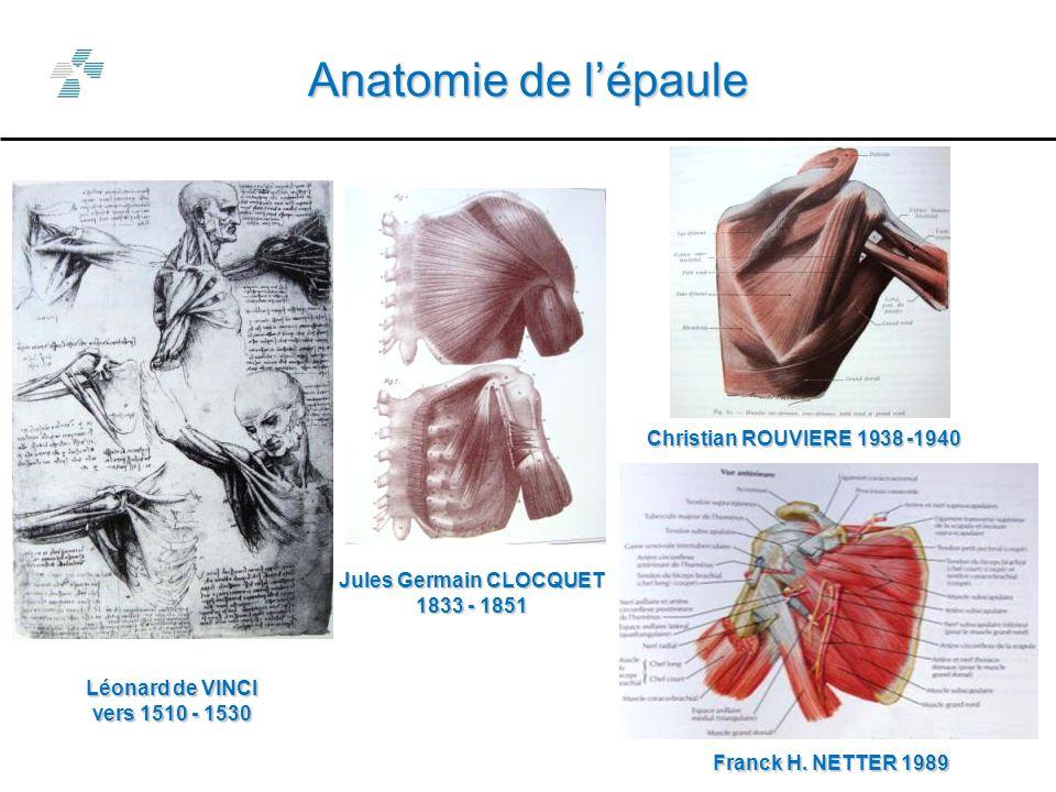 Anatomie de lépaule Léonard de VINCI vers 1510 - 1530 Jules Germain CLOCQUET 1833 - 1851 Christian ROUVIERE 1938 -1940 Franck H.