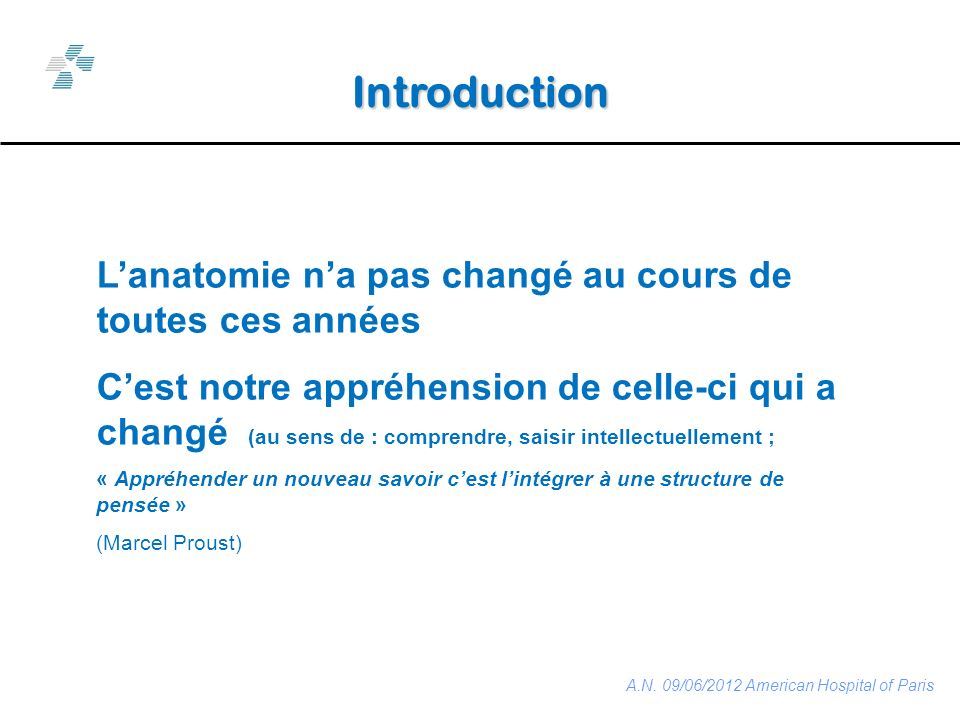 Lanatomie visible est palpable Base de lexamen clinique A.N. 09/06/2012 American Hospital of Paris