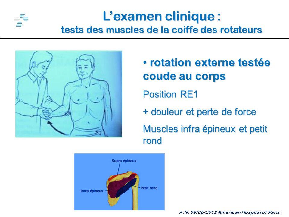 Lexamen clinique : tests des muscles de la coiffe des rotateurs A.N.
