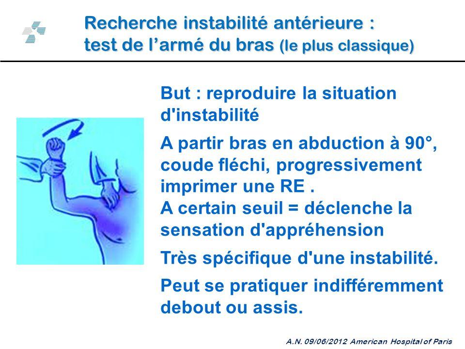 Recherche instabilité antérieure : test de larmé du bras (le plus classique) A.N.