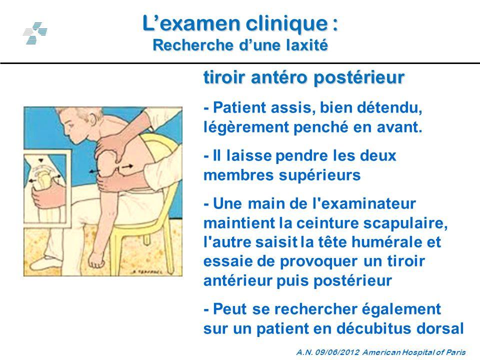 Lexamen clinique : Recherche dune laxité A.N.