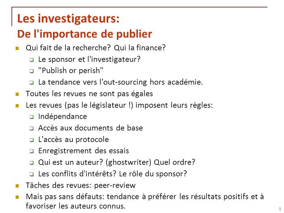 RNT - Leçon 10 (2.5.2011)11 Les investigateurs: De l'importance de publier Qui fait de la recherche? Qui la finance? Le sponsor et l'investigateur?